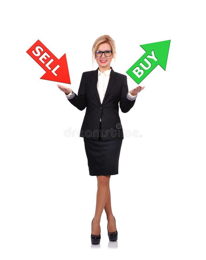 Geschäftsfrauholdingverkauf oder -kauf stock abbildung