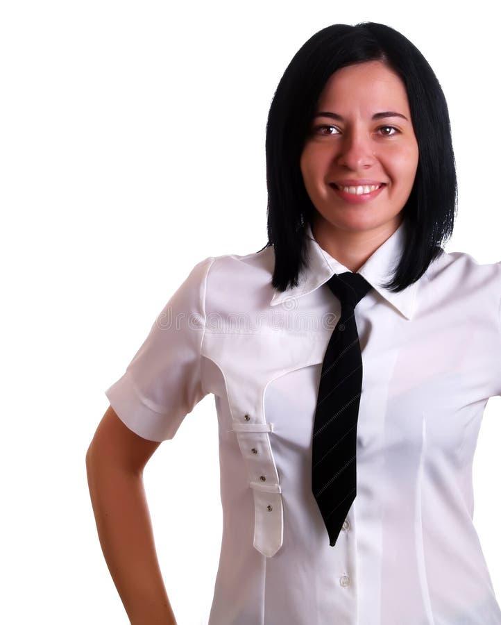Geschäftsfraulächeln stockbild