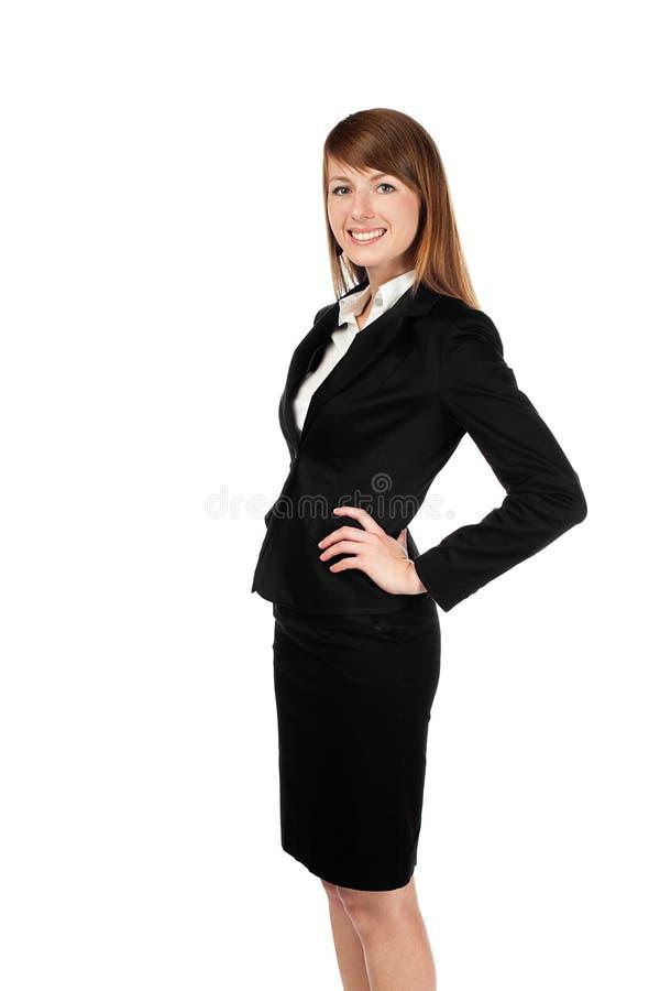 Geschäftsfraulächeln. Getrennt auf Weiß