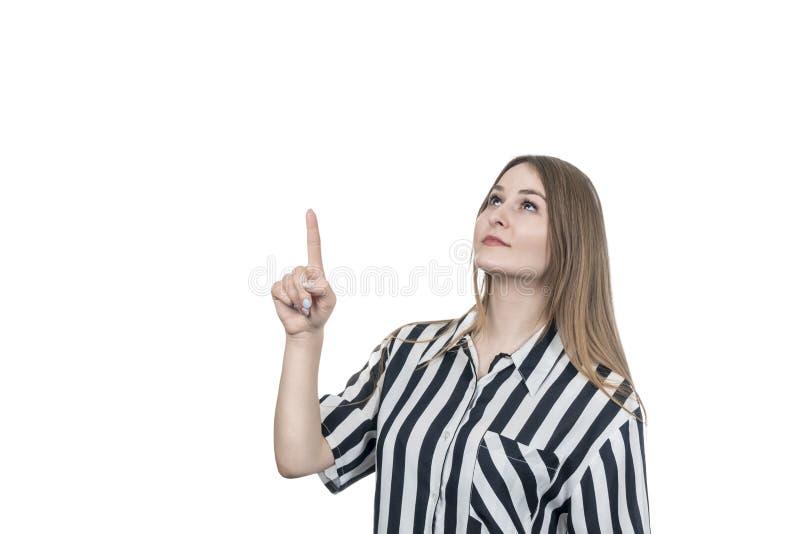 Geschäftsfraupunkte oben stockfoto