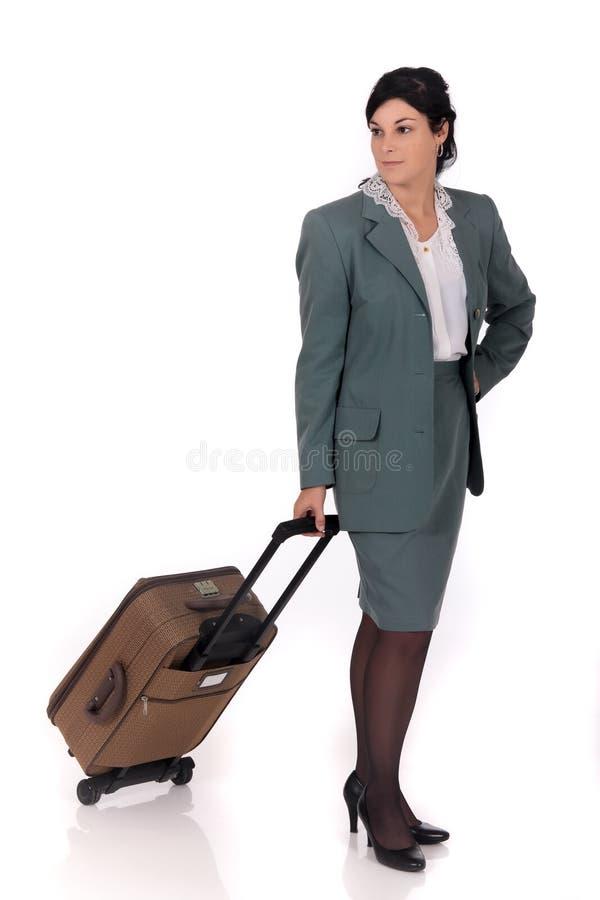Geschäftsfraureisendkoffer stockbild