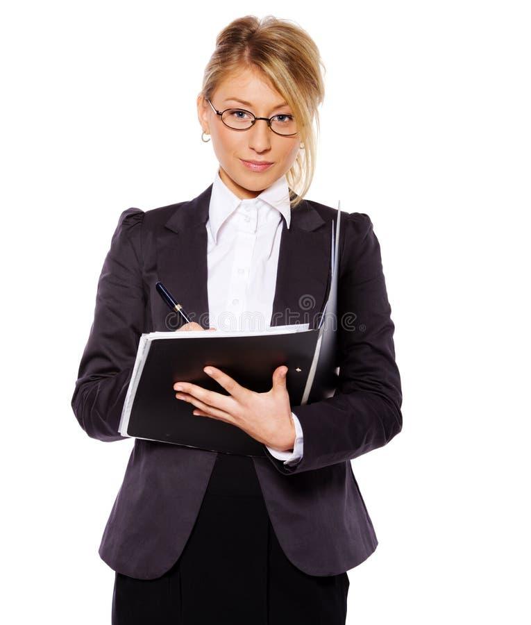 Geschäftsfrauschreiben lizenzfreies stockfoto