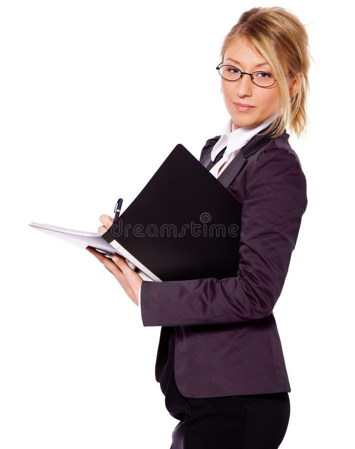 Geschäftsfrauschreiben lizenzfreie stockbilder