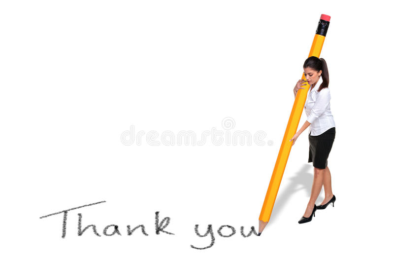 Geschäftsfrauschreiben danken Ihnen mit riesigem Bleistift stockfotos