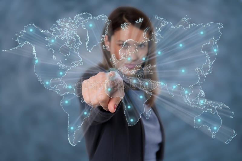 Geschäftsfrausoziales netz stockfotografie
