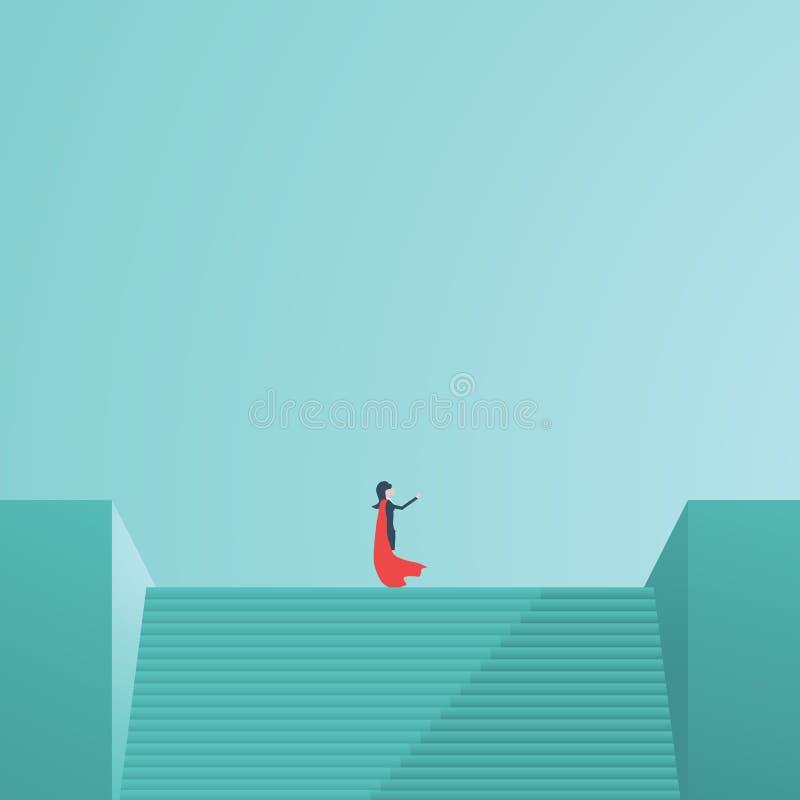 Geschäftsfrausuperheld, der auf die Treppe zeigt in Richtung steht Symbol der Geschäftsvision, Führung, Macht lizenzfreie abbildung