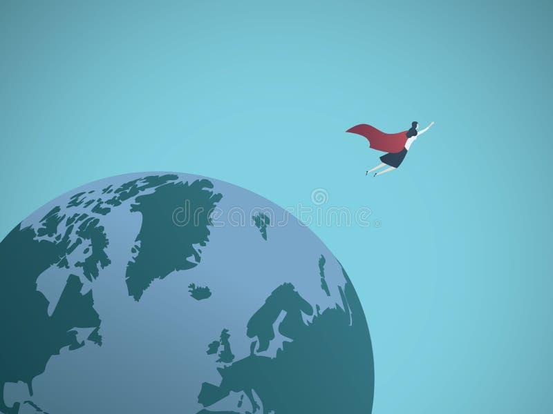 Geschäftsfrausuperheld, der auf der ganzen Welt Vektorkonzept fliegt Symbol der Macht, Führung, Erfolg lizenzfreie abbildung