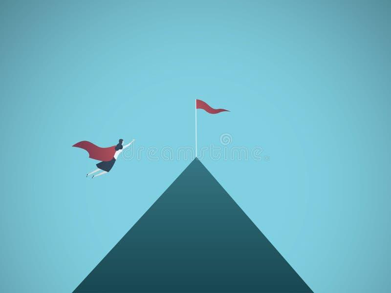 Geschäftsfrausuperheldfliegen in Richtung zur Flagge auf Gebirgsspitzenvektorkonzept Symbol des Ehrgeizes, Unternehmensziele stock abbildung
