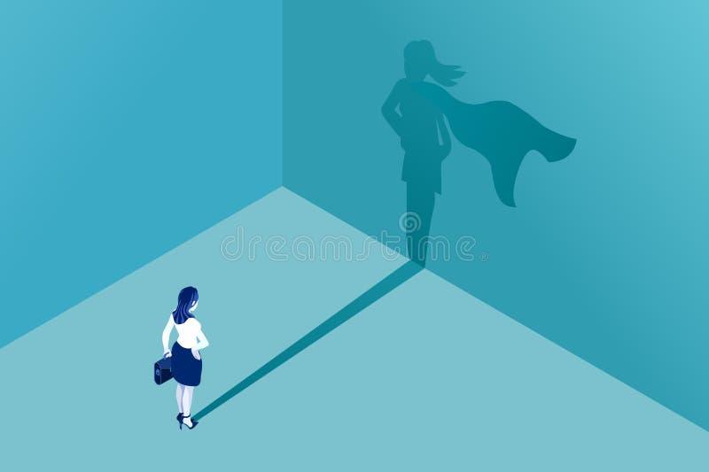 Geschäftsfrausuperheldmädchen-Schattenkonzept vektor abbildung