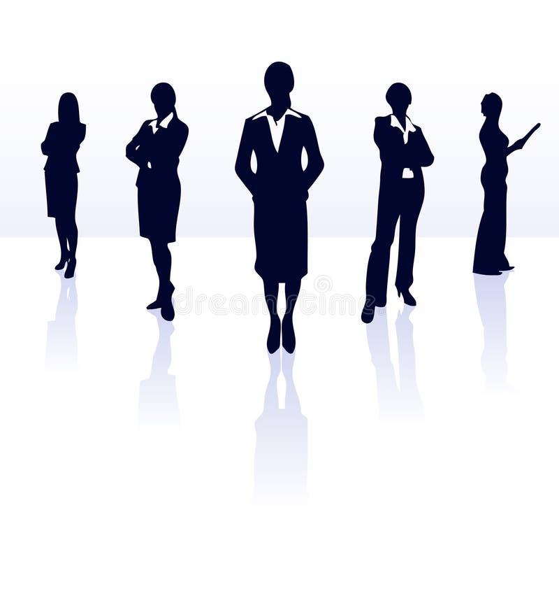 Geschäftsfrauteamschattenbild. vektor abbildung