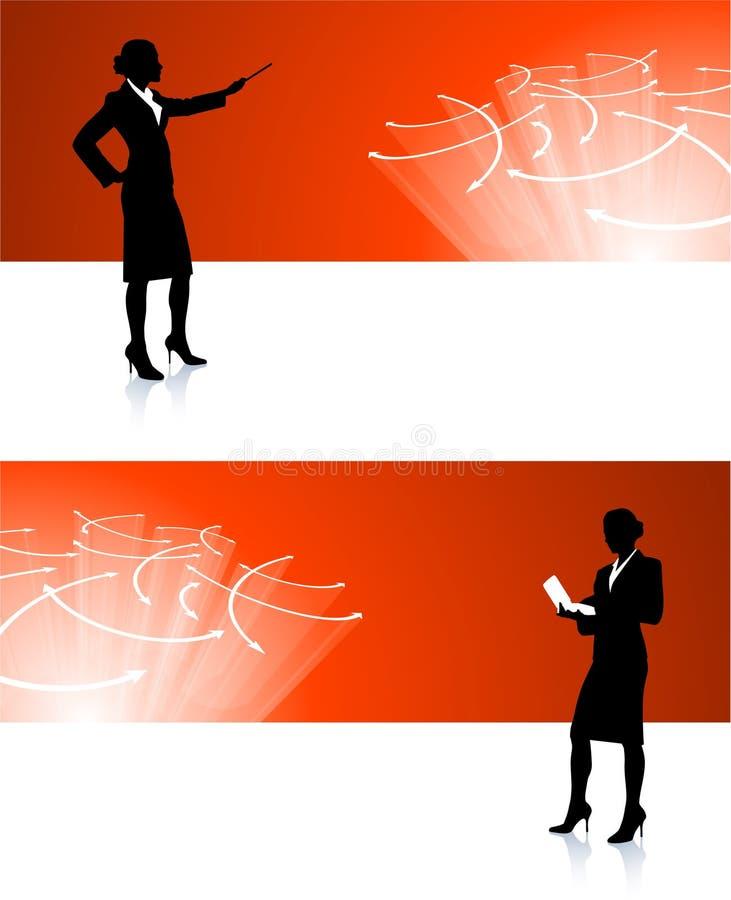 Geschäftsfrauunternehmensfahnenhintergründe stock abbildung
