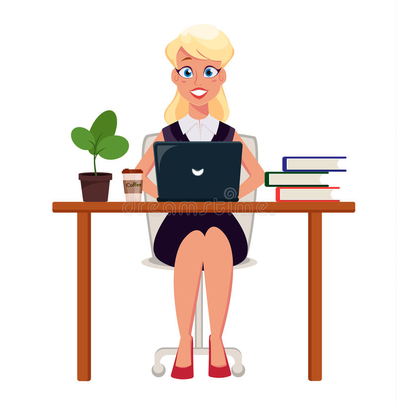 Geschäftsfrauunternehmer, der an Laptop an ihrem Schreibtisch arbeitet Nette Zeichentrickfilm-Figur stock abbildung