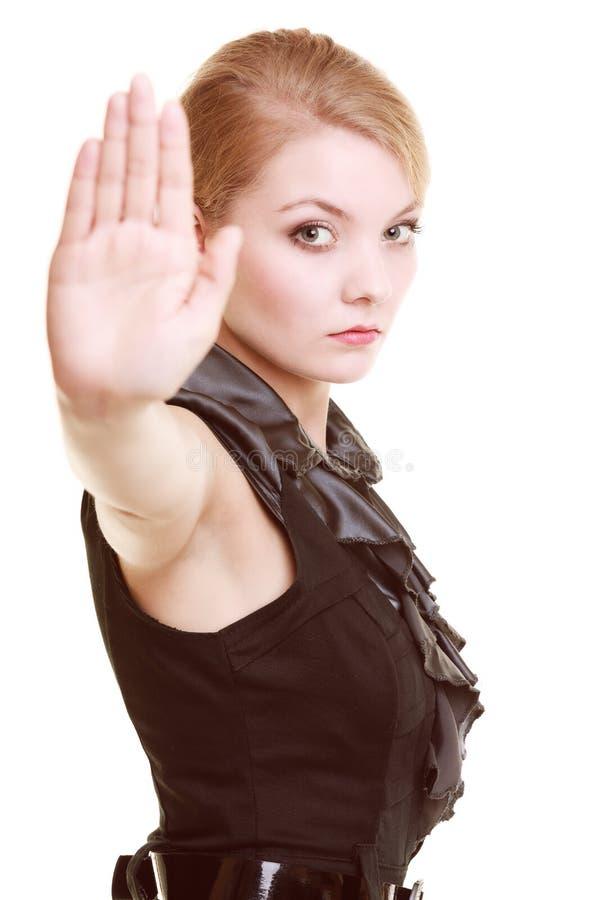 Geschäftsfrauvertretungsendhandzeichengeste stockfotos