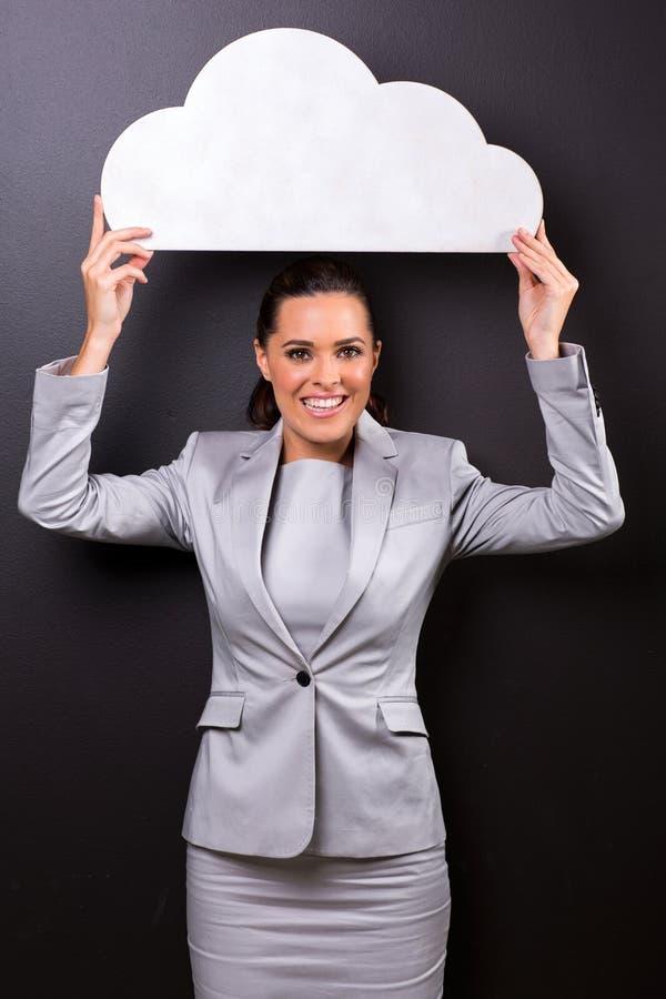 Geschäftsfrauwolke lizenzfreie stockfotos