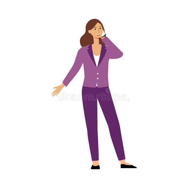 Geschäftsfrauzeichentrickfilm-figur, die auf dem Telefon, glücklichen weiblichen dem Geschäftsführer in der Hosenanzugsstellung u stock abbildung