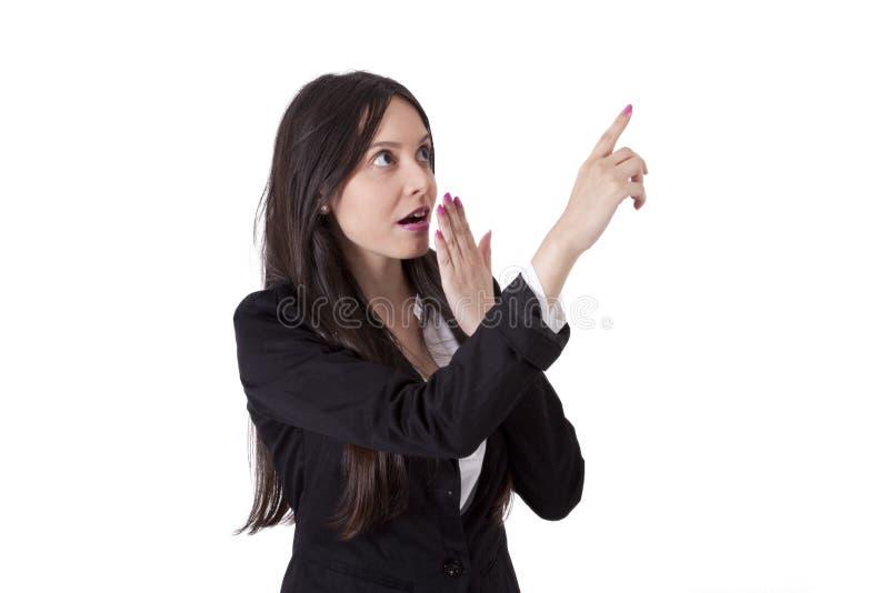 Geschäftsfrauzeigen lizenzfreie stockbilder