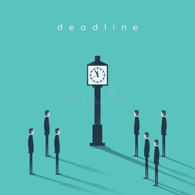 Geschäftsfristenkonzept-Vektorhintergrund mit einem Geschäftsmann und einer Uhr Abstrakte Illustration des Projektleiters lizenzfreie abbildung