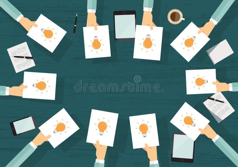 Geschäftsgeistesblitz teilen Sie Idee zu arbeiten Geschäft kreativ lizenzfreie abbildung