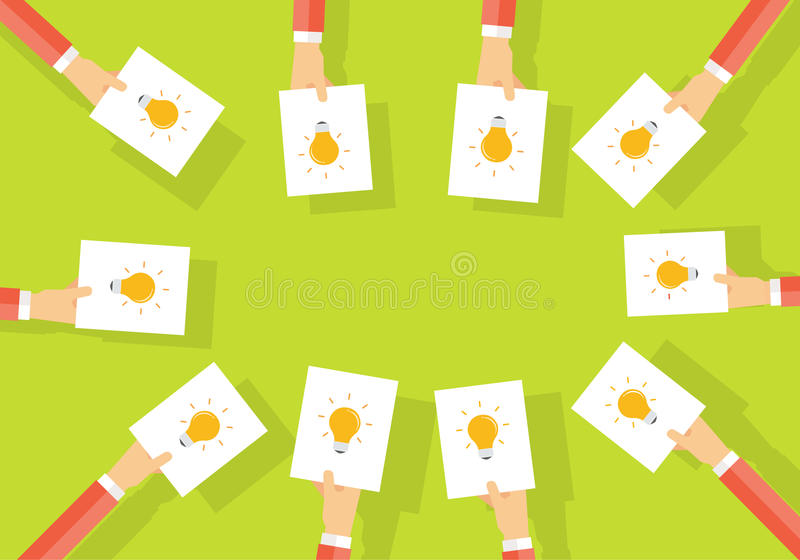 Geschäftsgeistesblitz teilen Sie Idee zu arbeiten Geschäft kreativ stock abbildung