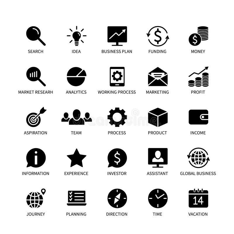 Geschäftsgeldkontaktikonen-Marktanalyse-Zeitsuchideeneinkommensbanksocial media-Technologie-Formatlogistik stock abbildung