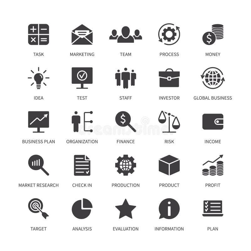 Geschäftsgeldkontaktikonen-Marktorganisations-Produktanalyse-Zeitsuchideeneinkommens-Banksocial media stock abbildung