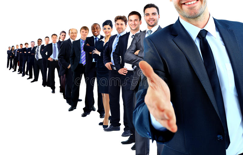 Geschäftsgruppe in einer Reihe lizenzfreies stockfoto