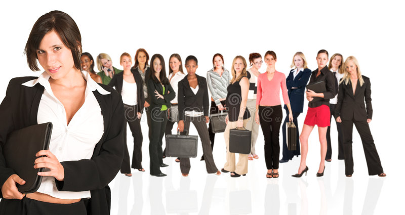 Geschäftsgruppe nur der Frau stockbild