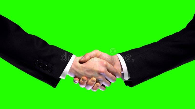 Geschäftshändedruck auf grünem Schirmhintergrund, Partnerschaftsvertrauen, Respektzeichen lizenzfreie stockbilder