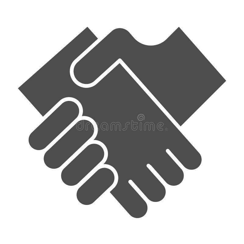 Geschäftshändedruck-Körperikone Hände, welche die Vektorillustration lokalisiert auf Weiß rütteln Vereinbarung Glyph-Artentwurf vektor abbildung