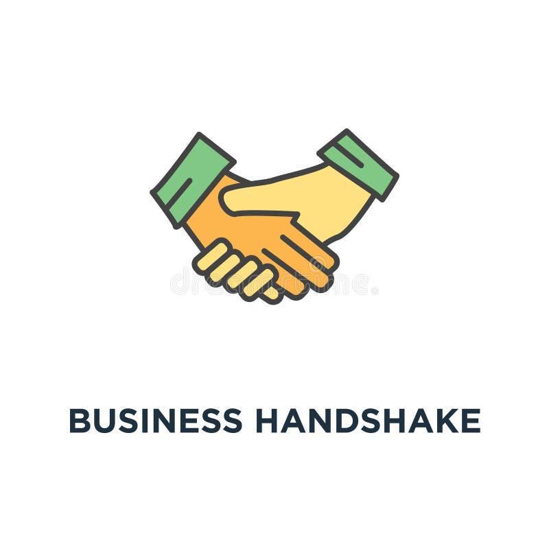 Geschäftshändedruck oder rütteln Hände, Vertragsvereinbarungsikone gutes Abkommen, Vertrauen oder Zustimmung, Entwurf, Konzeptsym stock abbildung