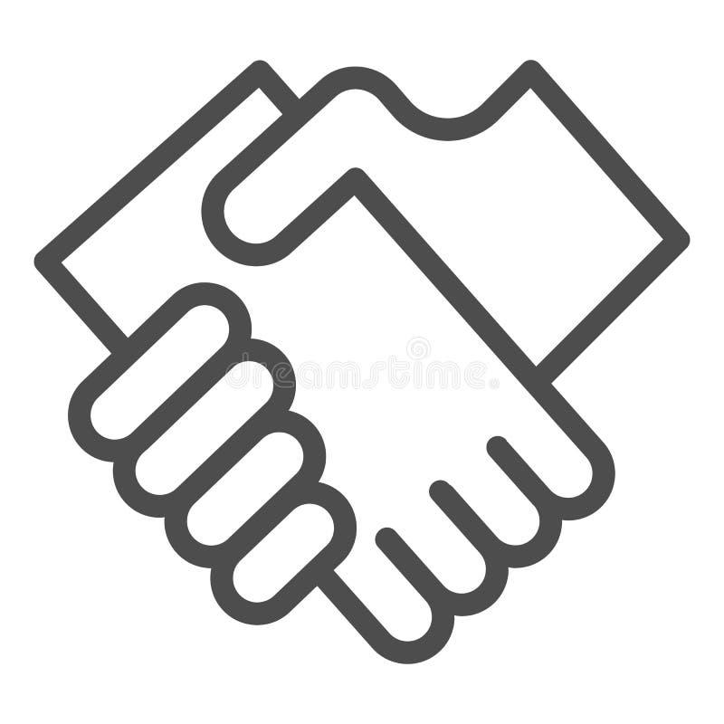 Geschäftshändedrucklinie Ikone Hände, welche die Vektorillustration lokalisiert auf Weiß rütteln Vereinbarungsentwurfs-Artentwurf vektor abbildung