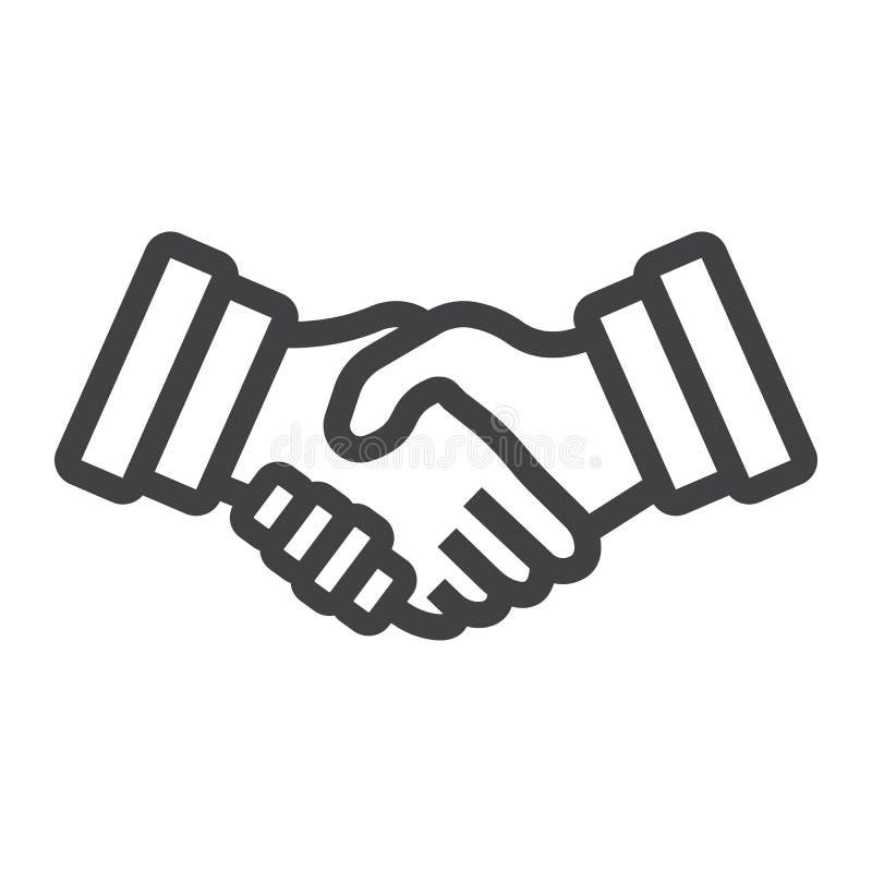 Geschäftshändedrucklinie Ikone, Vertragsvereinbarung lizenzfreie abbildung