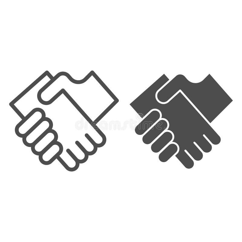 Geschäftshändedrucklinie und Glyphikone Hände, welche die Vektorillustration lokalisiert auf Weiß rütteln Vereinbarungsentwurfsar lizenzfreie abbildung