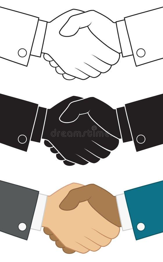 Geschäftshändedrucksymbol Ikone eingestellt für Partnerschaftskonzeptdesignschablone vektor abbildung