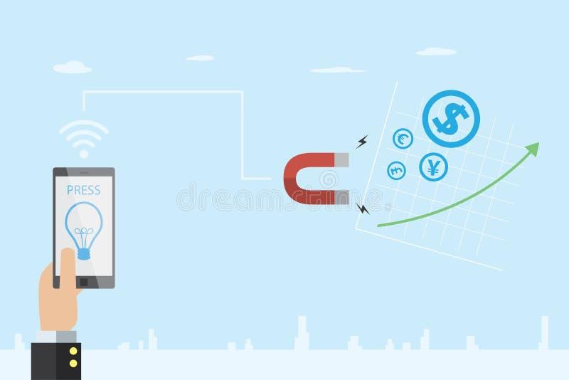 Geschäftshand, die Handy mit Glühlampesymbol und Hufeisenmagnet zur Anziehung der Währungsikone und -vorrates, der Idee und des B lizenzfreie stockbilder