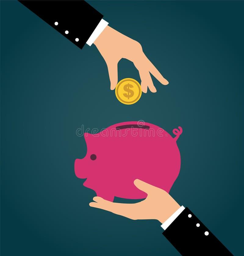 Geschäftshand, die Münze in ein Sparschwein setzt lizenzfreie abbildung