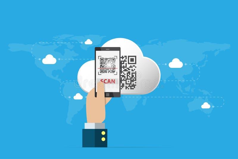 Geschäftshand, die Smartphone hält, um qr Code auf Wolken-, Technologie- und Geschäftskonzept zu scannen lizenzfreies stockfoto