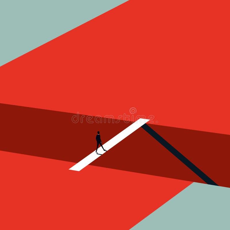 Geschäftsherausforderungs-Vektorkonzept in der unbedeutenden Kunstart Geschäftsmann, der über Brücke geht Symbol des Ehrgeizes lizenzfreie abbildung