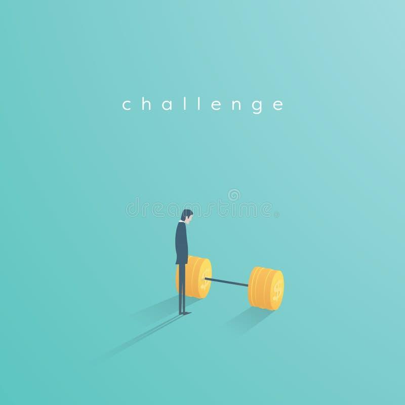 Geschäftsherausforderungs-Vektorkonzept mit dem Geschäftsmann, der nahe bei Gewichten steht Symbol der Motivation, Ehrgeiz, Inspi vektor abbildung