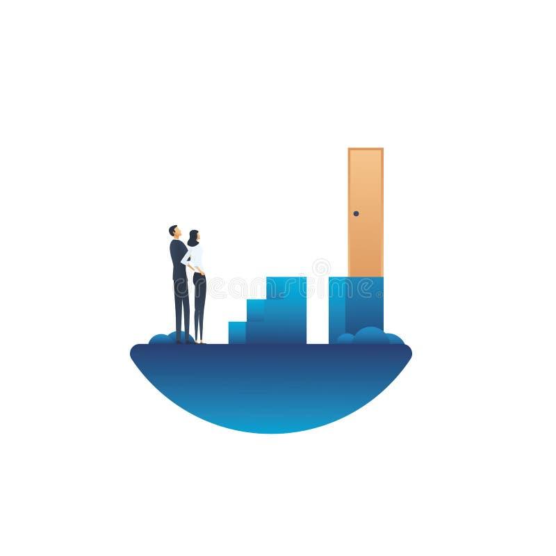 Geschäftsherausforderungs-Vektorkonzept mit dem Geschäftsmann und Geschäftsfrau, die nach Lösung suchen Symbol der Überwindung vo stock abbildung