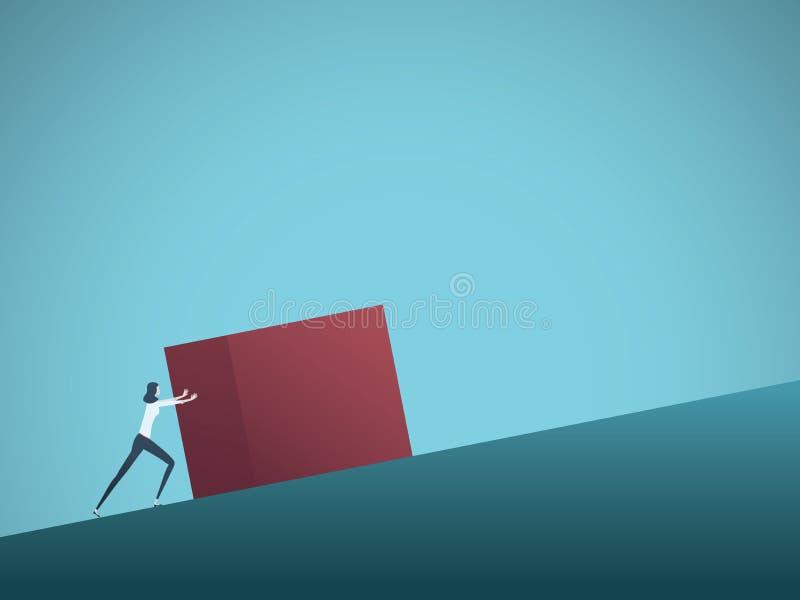 Geschäftsherausforderungs-Vektorkonzept mit Geschäftsfrau als sisyphus, das aufwärts Felsen drückt Symbol der Schwierigkeit, Ehrg lizenzfreie abbildung