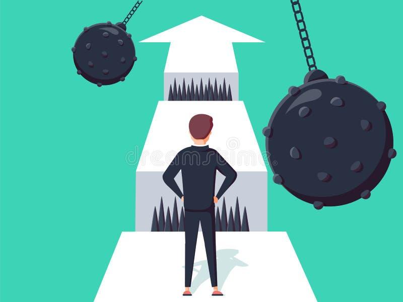 Geschäftsherausforderungskonzept mit dem Geschäftsmann, der in Richtung zum Abstand geht Symbol des Erfolgs oder der Gelegenheit, vektor abbildung