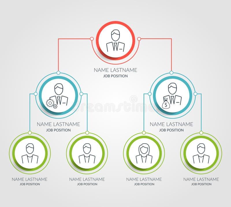 Geschäftshierarchiekreis-Diagramm infographics Korporative Organisationsstrukturgraphikelemente Unternehmensorganisation lizenzfreie abbildung