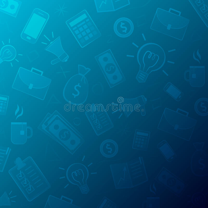 Geschäftshintergrund gemacht von den Ikonen und von den Piktogrammen lizenzfreie abbildung