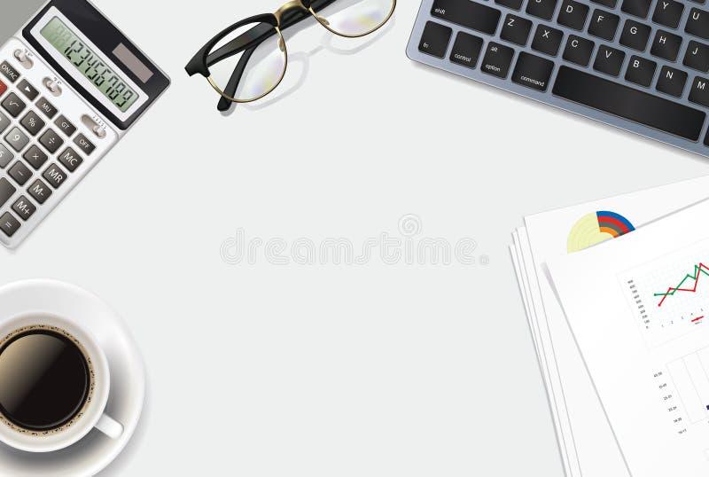 Geschäftshintergrund mit realistischen Gegenständen 3D: Taschenrechner, Tastatur, Tasse Kaffee, Gläser, Stift und Geschäftspapier stockfotografie
