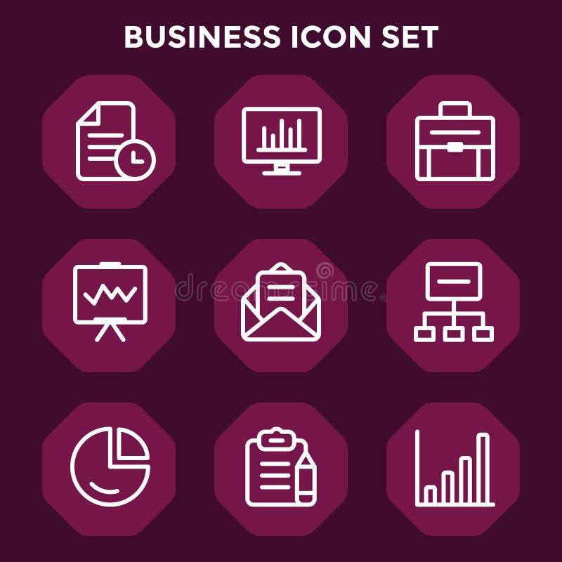Geschäftsikone eingestellt in roten kastanienbraunen Hintergrund für Webdesign vektor abbildung