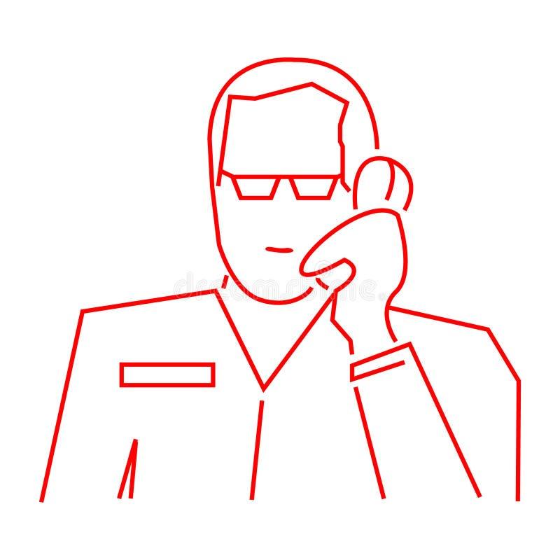 Geschäftsikone empfängt einen Anruf, flachen Entwurf, Linie Leute vektor abbildung