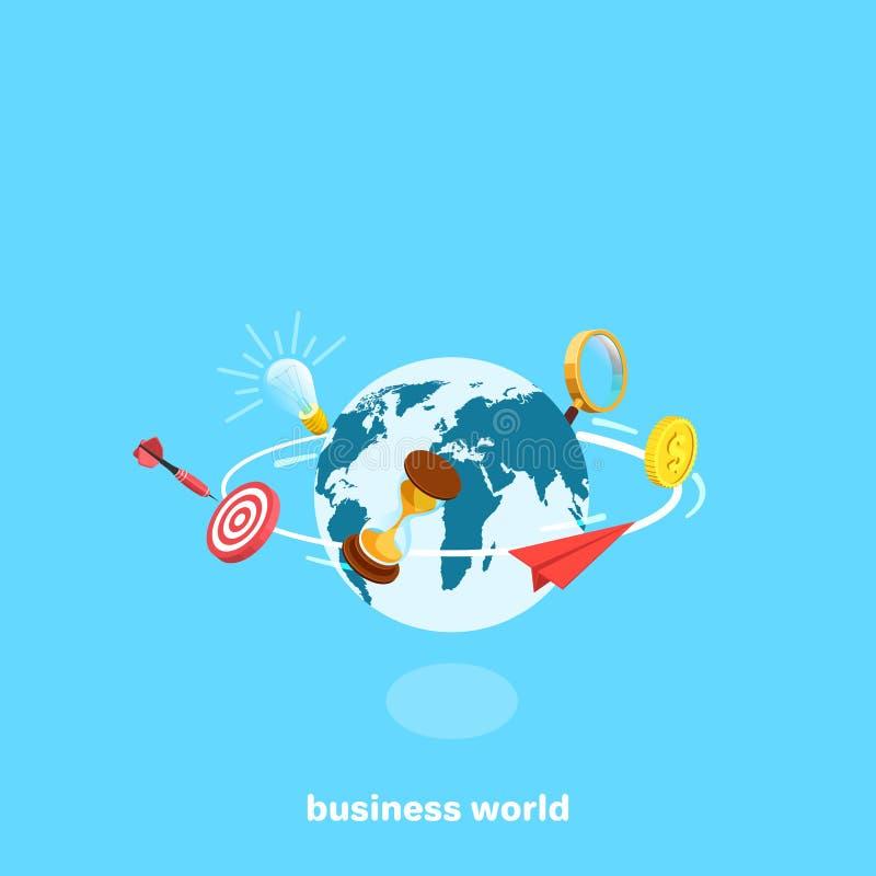 Geschäftsikonen, die sich rund um den Globus drehen stock abbildung