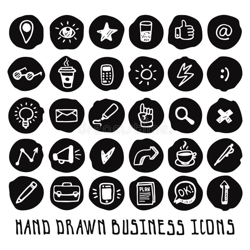 Geschäftsikonen-Vektorsatz des Gekritzels Hand gezeichneter schwarzer lizenzfreie abbildung
