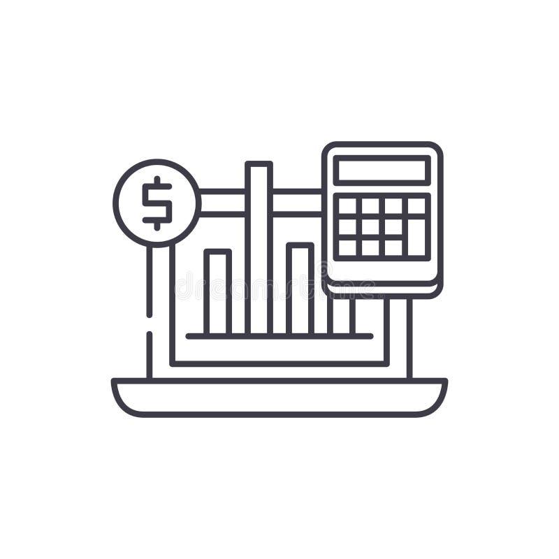Geschäftsindikatoren zeichnen Ikonenkonzept Lineare Illustration des Geschäftsindikatorvektors, Symbol, Zeichen stock abbildung